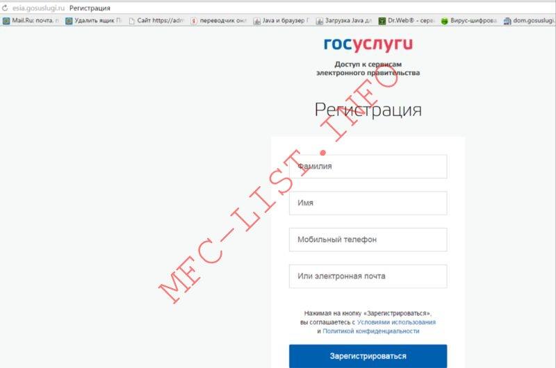 Регистрация в ЕСИА (шаг 1)