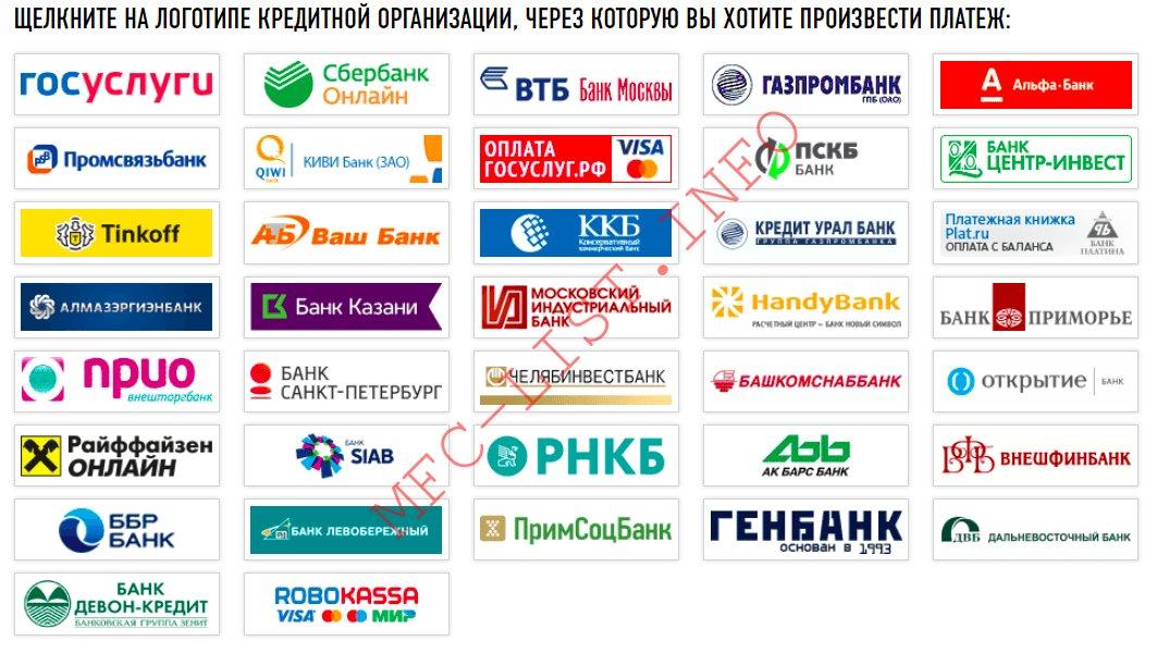 список банков и кредитных организаций через которые можно заплатить налоги