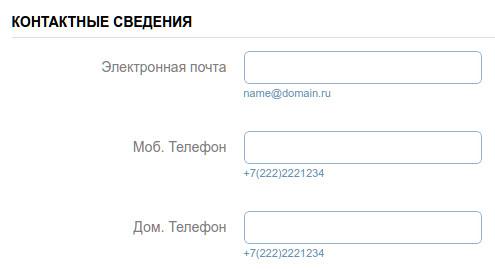 заполнение контактных сведений в электронной форме