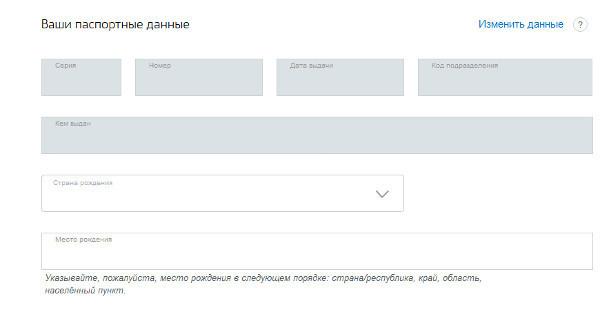 заполнение паспортных данных в электронной форме
