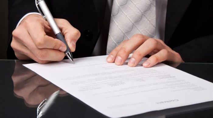 подпись документа о расторжении договора о найме помещения
