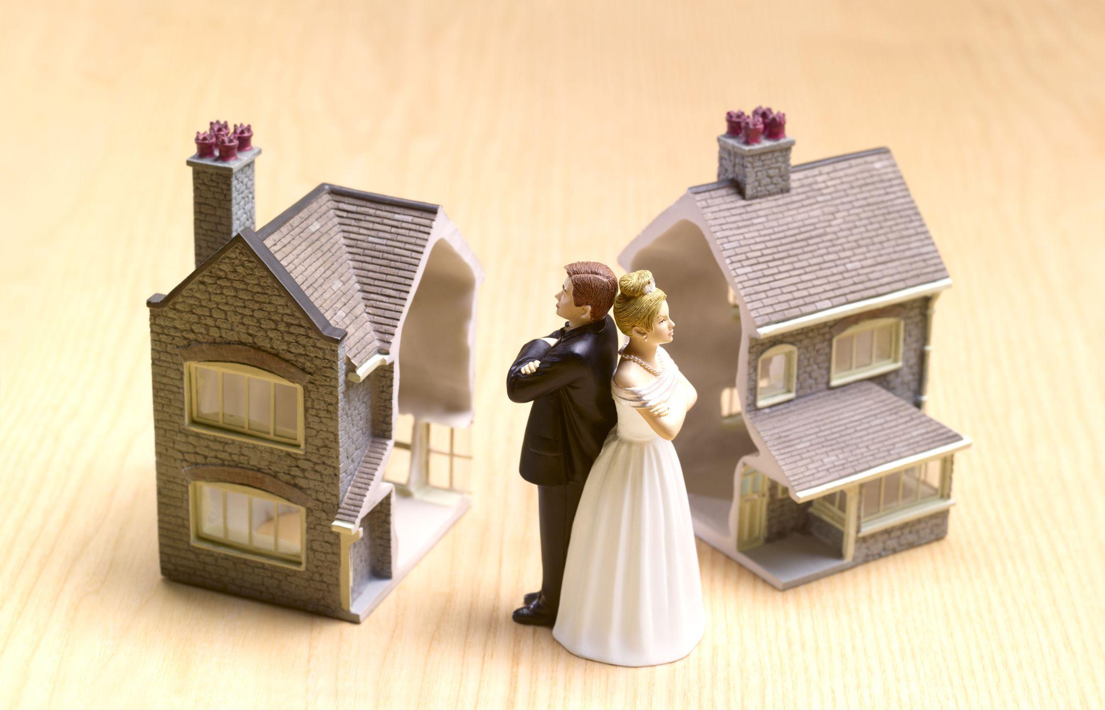 статуэтки жениха и невесты и поделенный пополам дом
