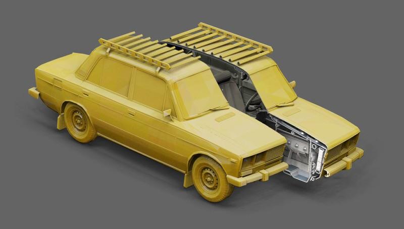 две игрушечные машинки желтого цвета