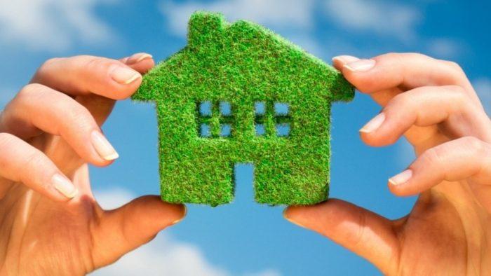 декоративный зеленый домик в руках