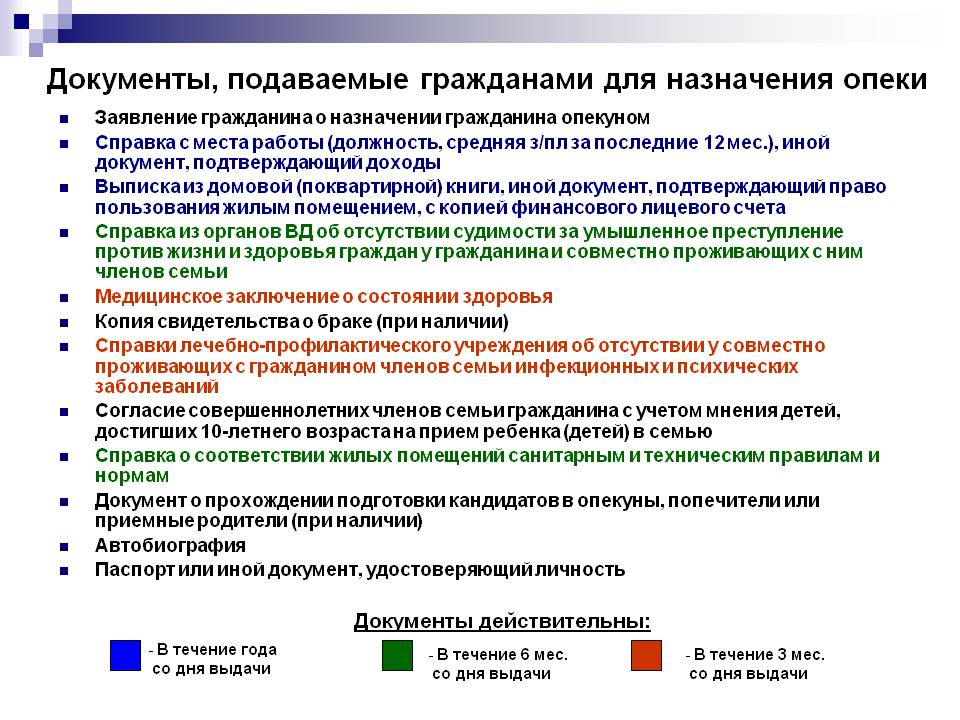 перечень документов для оформления опекунства