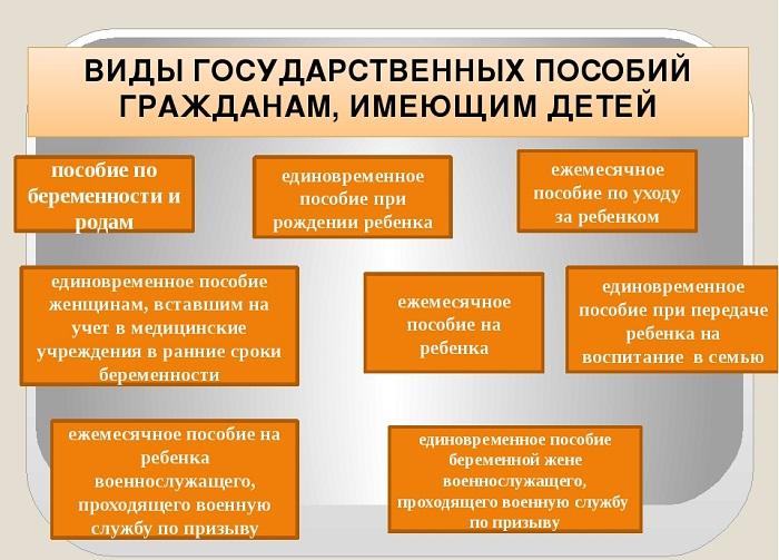 Виды государственных пособий