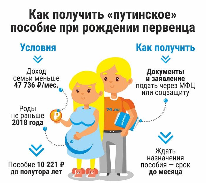 Условия для получения путинского пособия