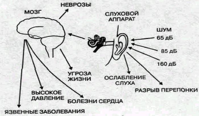 Ущерб слуху при воздействии громкого звука