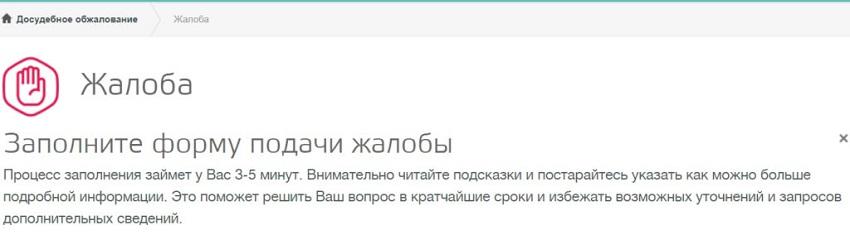 скриншот подачи жалобы на сайте